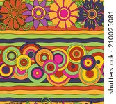 bright psychedelic flowers and... | Shutterstock .eps vector #210025081