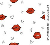 red lips and hearts seamless... | Shutterstock .eps vector #210025195