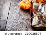 seasonal table setting with... | Shutterstock . vector #210028879