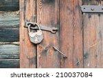 Old Wooden Door With Metallic...