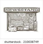 newsstand. hand drawn press... | Shutterstock .eps vector #210038749