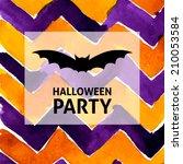 halloween party bat watercolor... | Shutterstock .eps vector #210053584