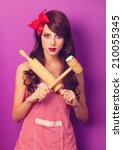 beautiful brunette housewife... | Shutterstock . vector #210055345