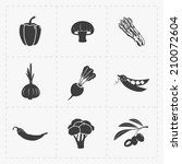 vegetable black icon set on... | Shutterstock .eps vector #210072604