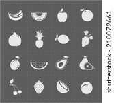 white fruit icon set on grey... | Shutterstock .eps vector #210072661