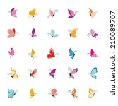 Stock vector abstract set of cute butterflies on a white background 210089707