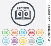 cookbook sign icon. 40 recipes... | Shutterstock .eps vector #210100999