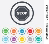 traffic stop sign icon. caution ... | Shutterstock .eps vector #210105865