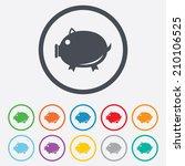 piggy sign icon. pork symbol....   Shutterstock .eps vector #210106525
