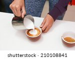 barista making a cup of... | Shutterstock . vector #210108841