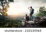 hikers relaxing on top of the... | Shutterstock . vector #210135565
