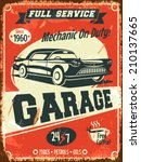 retro car service sign. vector... | Shutterstock .eps vector #210137665
