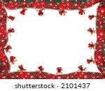 Christmas framework made of seasonal ribbon and red bells - stock photo