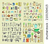 big household objects set.... | Shutterstock .eps vector #210150415
