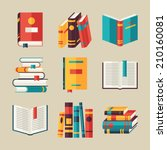 set of book icons in flat... | Shutterstock .eps vector #210160081
