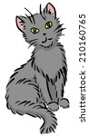 cartoon sitting gray funny cat | Shutterstock . vector #210160765