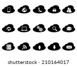 black cloud icons set | Shutterstock .eps vector #210164017