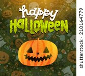 happy halloween card with jack... | Shutterstock .eps vector #210164779