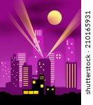 cartoon night city. vector eps... | Shutterstock .eps vector #210165931