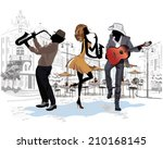 street musicians on the...   Shutterstock .eps vector #210168145