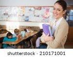 Pretty Teacher Smiling At...