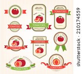 tomatoes labels. vegetables... | Shutterstock .eps vector #210174559