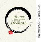 silence is a source of great... | Shutterstock .eps vector #210187381