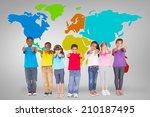 elementary pupils smiling... | Shutterstock . vector #210187495