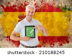 mature student showing tablet... | Shutterstock . vector #210188245