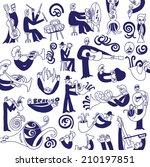 jazz musicians  doodles set | Shutterstock .eps vector #210197851