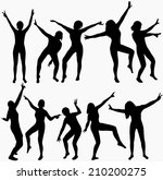 dancing girls silhouettes | Shutterstock .eps vector #210200275