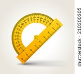 yellow school protractor ... | Shutterstock .eps vector #210200305