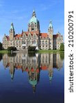 Stock photo hanover germany may new town hall in hanover on may new city hall rathaus at lake 210200791
