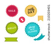 colorful stickers sale | Shutterstock .eps vector #210203401