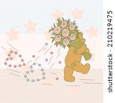 teddy bear with bouquet of... | Shutterstock .eps vector #210219475