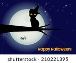 halloween card  black cat with...