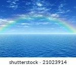 beautiful rainbow over the sea | Shutterstock . vector #21023914