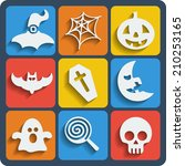 set of 9 halloween web and... | Shutterstock . vector #210253165