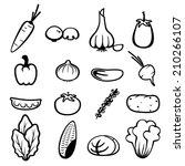 vegetable icons   Shutterstock .eps vector #210266107