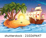 illustration of the island with ...   Shutterstock .eps vector #210269647