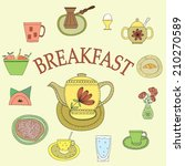vector set with cups and teapot | Shutterstock .eps vector #210270589