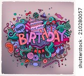 birthday hand lettering and... | Shutterstock .eps vector #210280057
