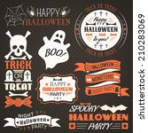 halloween vintage set   labels  ... | Shutterstock .eps vector #210283069