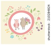 cute card with funny owls and... | Shutterstock .eps vector #210284824
