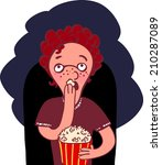guy in a movie with popcorn | Shutterstock . vector #210287089