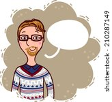 hipster says something and... | Shutterstock . vector #210287149