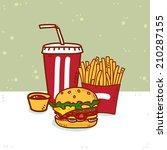 standard set of fast food | Shutterstock . vector #210287155