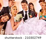 happy group people at wedding... | Shutterstock . vector #210302749