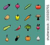 set of vector vegetables. hand... | Shutterstock .eps vector #210320701