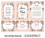 wedding invitation set with... | Shutterstock .eps vector #210339817